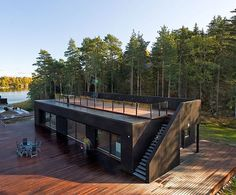 Container home with upper deck