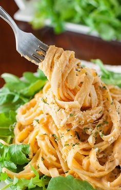 There's something magical about this dreamy, creamy Sweet Potato Alfredo. This gorgeous golden pasta is a delicious twist on a comfort food classic!