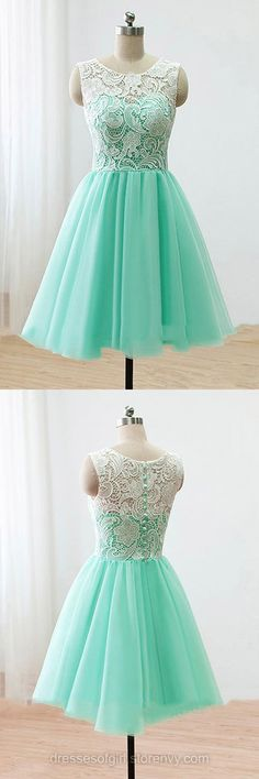 Green Prom Dresses, Modest Scoop Neck Short Homecoming Dresses, Pretty Tulle Mini Party Dresses, Cute Lace Cocktail Dresses