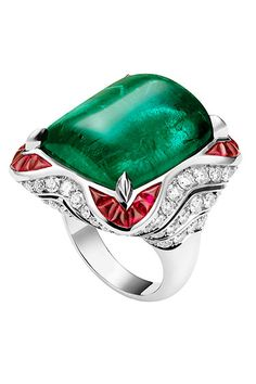 Bulgari emerald, ruby, and diamond ring