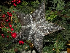 Christmas Star Tree Topper made from art metal by Elaine Howell at The Little Blue House
