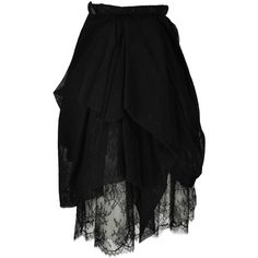Preowned Chanel 2010 Black Tulle And Lace Asymmetric Skirt Fr34 ($650) ❤ liked on Polyvore featuring skirts, black, gonne, chanel skirt, lace skirt, chanel, lace tulle skirt and black knee length skirt