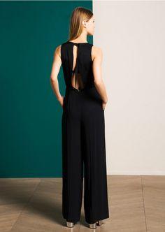 Combi-pantalon noire en crêpe envers satin - femme - tara jarmon 2