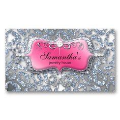 Jewelry Business Card Zebra Pink Silver Glitter