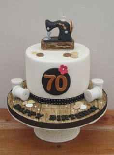 Sewing Themed 70th Birthday Cake