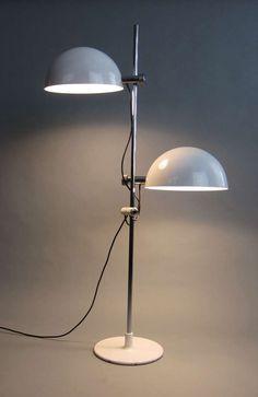 Carlo Bertoli and Piero Menichetti; Chromed and Enameled Metal Floor Lamp for Faver, 1970.