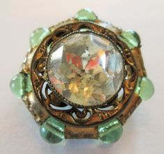 Remarkable Antique GAY 90's Metal Filigree BUTTON w/ Clear GLASS & Bead Border  | eBay
