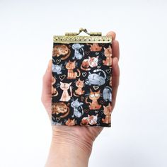 Card organizer, card wallet, womens credit card holder, credit card sleeve, card holder wallet, id holder, black cat, cat lover gift