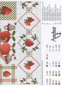 Morangos-para-toalha-de-mesa-gráficos-2 Morangos na cozinha em ponto cruz
