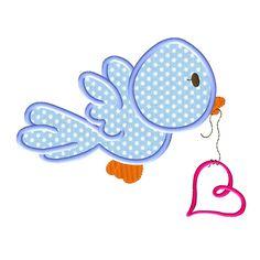 Valentines Day Birdie Applique Design. appliquedownload.com