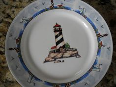 2 Totally Today Coastal Lighthouse Seashore Salad Dessert Bread Butter Plates 7"