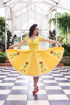 """Beauty and the Beast pinup circle skirt. modelling for Honey L'Amours Disney Princess themed collection 'Once Upon a Time"""". Perfect vintage inspired dresses for pinups!"""