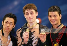 Silver medalist Daisuke Takahashi of Japan, Gold medalist Brian Joubert of France and Bronze medalist Stephane Lambiel of Switzerland pose with their medals after the men''s free skating during the World Figure Skating Championships at the Tokyo Gymnasium on March 22, 2007 in Tokyo, Japan.