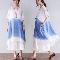 Women Summer Casual Loose Short Sleeve Blue Dress
