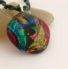 Dichroic Glass Pendant in Green Gold and Pink by 3DGlassDesigns