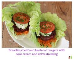 Breadless beef and beetroot burgers with sour cream and chive dressing Beetroot Burgers, Beef Dishes, Salmon Burgers, Sour Cream, Dressing, Meals, Chicken, Dinner, Ethnic Recipes