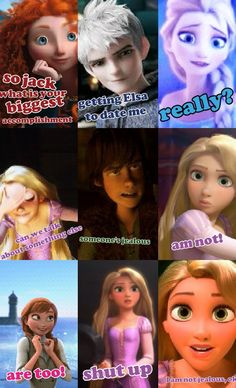 Rapunzel has Flynn! She shouldn't be jealous so stop making her jealous. << I agree Funny Disney Jokes, Crazy Funny Memes, Disney Memes, Disney Quotes, Disney Pixar, Disney Princess Pictures, Disney Princess Art, Elsa Anime, Frozen Memes