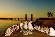 Ritual de Umbanda na beira do Guaíba com terreiro da Ilha da Pintada de Mãe Bia de Iemanjá, Mãe Leoni e filhos-de-santo