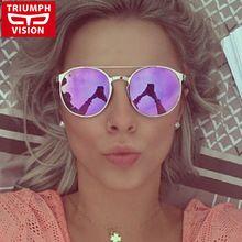 TRIUMPH VISÃO Da Moda Retro Mulheres Óculos De Sol Espelho Redondo de Metal de Alta Qualidade Óculos Óculos de Sol Do Vintage Feminino 2016 Novos Tons(China (Mainland))