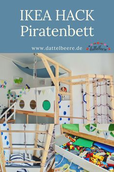 Ikea Hack pirate bed DIY + free building instructions- Ikea Hack Piratenbett DIY + kostenlose Bauanleitung A fancy and awesome DIY for a … - Baby Room Furniture, Diy Home Furniture, Ikea Kids, Ikea Children, Pirate Bedding, Ikea Kura Hack, Baby Room Boy, Diy Bett, Kids Room Design