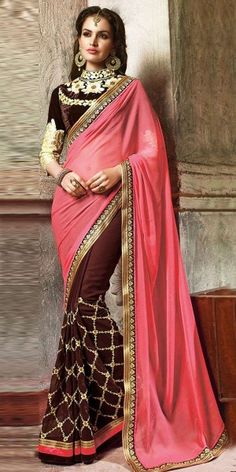 Blossom Brown And Pink Georgette Saree With Blouse.