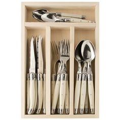 Laguiole by Jean Dubost - Eco Line Ivory 24pc Cutlery Set (Made in France) $129