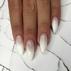 nude and white ombre nail polish, cute easy nail designs, long stiletto nails Do you get overwhelmed when choosing you manicure? We have gathered 100 best nail designs suitable for every nail shape to help you choose your favourite. Nail Art Designs Images, Ombre Nail Designs, Frensh Nails, Hair And Nails, Coffin Nails, White Nail Art, White Nails, Fancy Nails, Pretty Nails