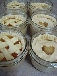 Pies in Mason Jars. FREEZE AND BAKE WHEN NEEDED- GREAT WAY TO GIVE AS GIFTS ALSO