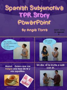This 42-slide Spanish Subjunctive TPR Story PPT uses the subjunctive in context as it tells an engaging story about a girl who finally gets to go out with her dream boy. However, she faces some obstacles that may dash her hopes.   The subjunctive is repea