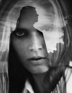 double vision | dual | double exposure | fine art photography | black & white | stare | wow | beautiful | clever #double #creative #exposure #photography