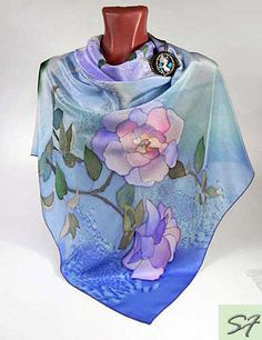 Rose Square silk scarf, Blue Pink, hand painted, Floral, Birthday gift, Gift Wife or Girlfriend, Batik, Holiday Gift, Women Fashion Scarf by SilkFantazi on Etsy