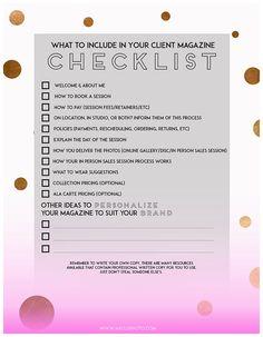 magazine checklist, printable, hay.LO Photography, free printable
