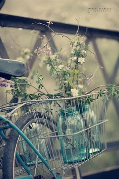 Bike Ride To Deliver Flowers In Old Blue Mason Jars #bicycles, #bicycle, #pinsland, https://apps.facebook.com/yangutu