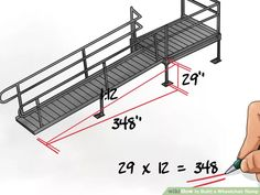 Image titled Build a Wheelchair Ramp Step 6 Handicap Accessible Home, Handicap Ramps, Ramp Design, Deck Design, Building A Shed, Building Plans, Building Ideas, Ada Ramp, Wooden Ramp