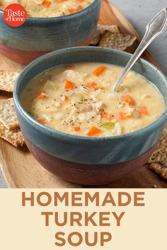Homemade Turkey Soup - Recipes For Kids Creamy Turkey Soup, Homemade Turkey Soup, Turkey Rice Soup, Turkey Casserole, Leftover Turkey Recipes, Leftovers Recipes, Slow Cooker Turkey Soup, Turkey Vegetable Soup, Turkey Stew
