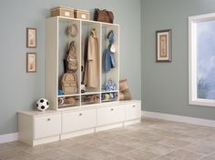 Add some crown molding to beef this up and it would work for an apartment where you can't hang things on the walls. -DIY Mudroom And Hallway Storage Ideas