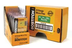 Stanley Bostitch PT-2319-3M 3/4-Inch 23 Gauge Pin (3000 per Box) by Stanley Bostitch. Save 19 Off!. $7.94. From the Manufacturer                The Bostitch PT-2319-3M 3/4-Inch 23 Gauge Pin are for use with the Bostitch HP118K and TU-216-2330 Headless Pinners. These 3/4-inch 23 gauge pins are finish coated and packaged 3,000 per box.                                    Product Description                23 gauge headless micro pins fit all 23 gauge pin nailers. Nails leave no visable mark in…
