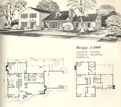 Vintage House Plans Early Colonial Part 1 Vintage House Plans, Modern House Plans, House Floor Plans, Vintage Houses, Early American Homes, Mcm House, Architectural House Plans, Mountain House Plans, Mid Century House