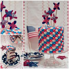 Patriotic Summer Berry Cake (Lemon-Blueberry Cake with Strawberry Filling...all dressed up for the Fourth of July)