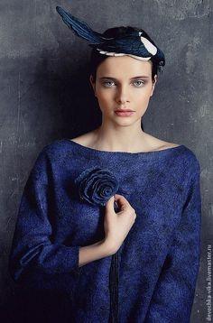 """Купить Шляпка-накладка """"Сорока"""" - шляпка, украшение для волос, Виктория Козырь, птицы, птица, кардочес"""