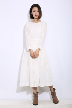 Long Sleeves  Maxi Dress in White by YL1dress on Etsy, $119.99