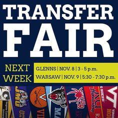 TRANSFER FAIR. Next Week  Glenns on Nov. 8 (Tuesday) and Warsaw on Nov. 9 (Wednesday) #transferfair #nnk #midpenva #rappahannock #community #college #comm_college #middlepeninsula #northernneck
