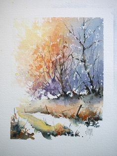 Forest Road in watercolor - positive / negative step-by-step
