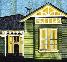 Art quilt by Gloria Loughman. Fabulous Facades workshop, October 25-31, 2015. Hudson River Valley Art Workshops