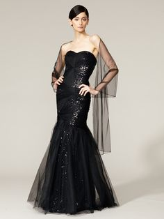 Sequined Tulle Strapless Gown by ML Monique Lhuillier on Gilt    reminds me of classic Barbie. They sold out of my size, Wah
