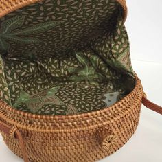 ROUND WOVEN BAG - BOW - Wood/Grey