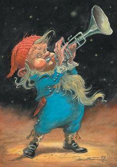 Gnome Musician, by Kjell Midthun Magical Creatures, Fantasy Creatures, Art And Illustration, Baumgarten, Vintage Fairies, Noel Christmas, Fairy Art, Scandinavian Christmas, Faeries