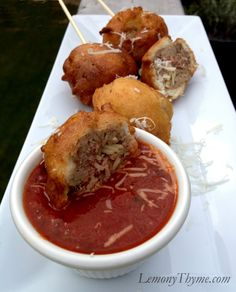 This food on a stick takes the mess out of spaghetti. Get the recipe from Lemon Thyme.   - Delish.com