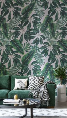 Travel to the tropics with this wonderful leaf wallpaper design. Cheerful illustrative leaves bring an exotic feel to your home, while the vivid greenery brings your interiors to life! Ideal for playful yet modern living spaces. Apartment Color Schemes, Living Room Color Schemes, Living Room Colors, Living Room Paint, Bedroom Colors, Living Room Designs, Colour Schemes, Colour Palettes, Bedroom Yellow