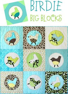 Birdie Big Blocks Applique Quilt Pattern – Cabbage Rose